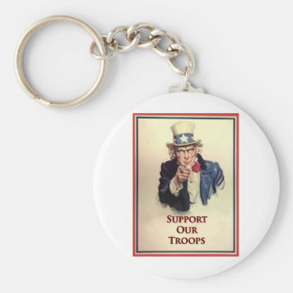 Support Our Troops Uncle Sam Poster Basic Round Button Keychain