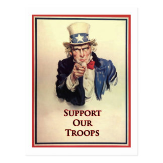 Support Our Troops Uncle Sam Poster Postcard