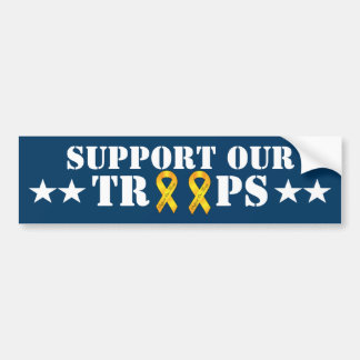 Support Our Troops - Yellow Ribbon Car Bumper Sticker
