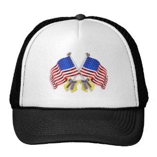 Support our troops yellow ribbons and Flags Trucker Hat