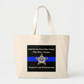 Support Police Heroes Large Tote Bag