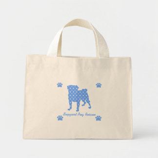 Support Pug Rescue Blue Pug Dots Tote Bag