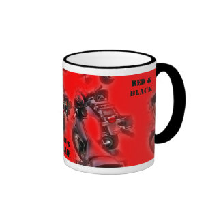 Support Red & Black Cup with Motorcycles Ringer Coffee Mug