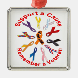 Support Ribbons Metal Ornament