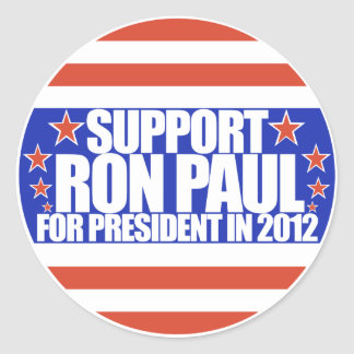 Support Ron Paul for President.. (Vintage look) Classic Round Sticker