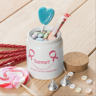 Support Smile Breast Cancer Awareness Goodies Jar Candy Jar
