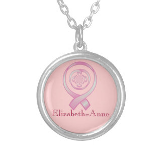 """Support Surrounds w/ Love"" ~ Breast Cancer Awaren Silver Plated Necklace"