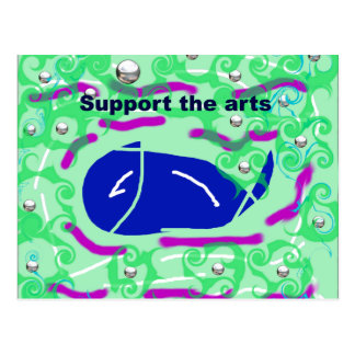 support the arts fish wale postcard
