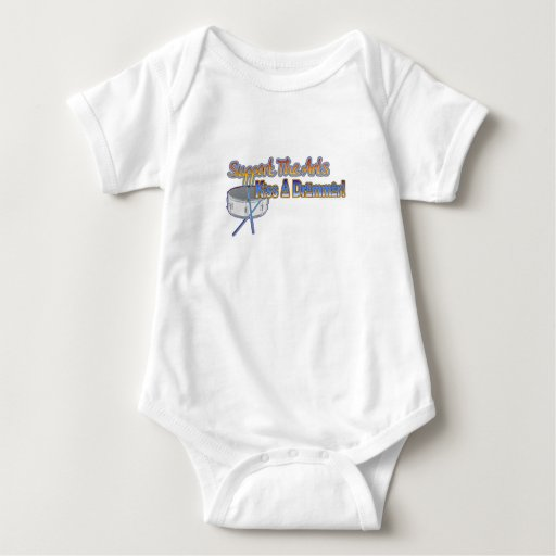 Support the Arts, Kiss a Drummer (color text) Baby Bodysuit