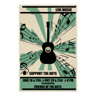Support The Arts Live Music Poster