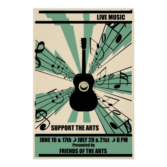 Support The Arts Live Music Poster Zazzle Com