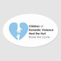 Support the Children of Domestic Violence Oval Sticker