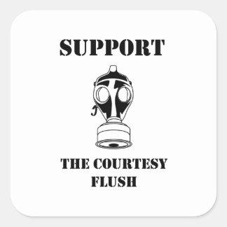Support The Courtesy Flush Square Sticker