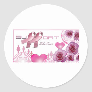 Support The cure, Breast Cancer Awareness Round Sticker