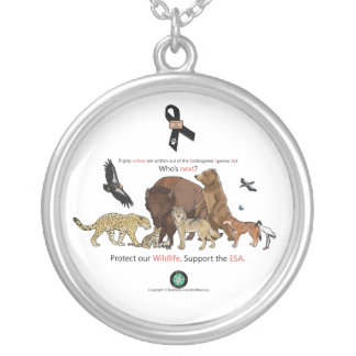 Support The Endangered Species Act Silver Plated Necklace