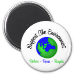 Support the Environment Reduce Reuse Recycle Refrigerator Magnets