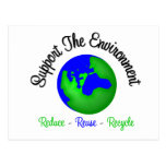 Support the Environment Reduce Reuse Recycle Postcard