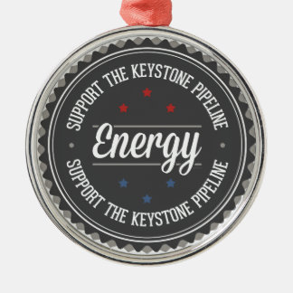 Support The Keystone Pipeline Round Metal Christmas Ornament