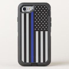 Support The Police Thin Blue Line American Flag Otterbox Defender Iphone 8/7 Case at Zazzle