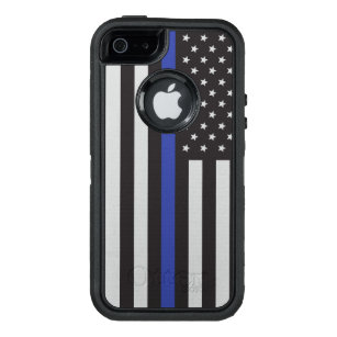 Support the Police Thin Blue Line American Flag OtterBox Defender iPhone Case