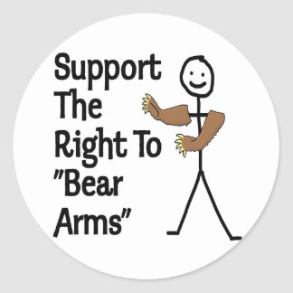 Support The Right To Bear Arms Classic Round Sticker