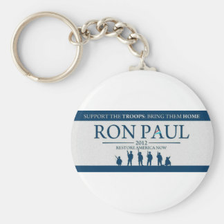 Support the Troops Bring Them Home Ron Paul 2012 Basic Round Button Keychain