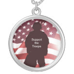 Support the Troops Patriotic Military Round Pendant Necklace
