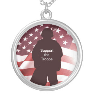 Support the Troops Patriotic Military Silver Plated Necklace