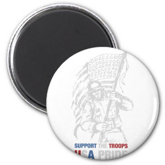 Support The Troops - USA American Pride 2 Inch Round Magnet