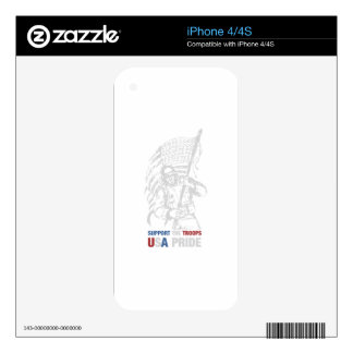 Support The Troops - USA American Pride iPhone 4 Decal