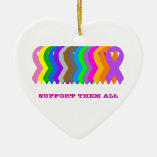 Support them All Double-Sided Heart Ceramic Christmas Ornament
