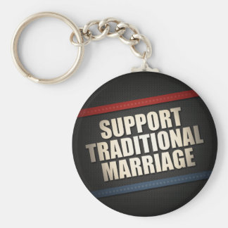 Support Traditional Marriage Basic Round Button Keychain