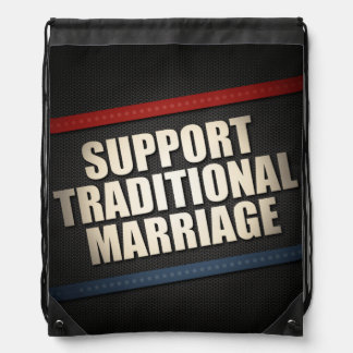 Support Traditional Marriage Drawstring Bag