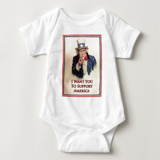 Support Uncle Sam Poster Baby Bodysuit