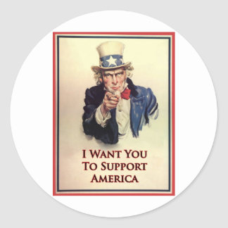 Support Uncle Sam Poster Classic Round Sticker