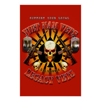 Support Viet Nam/Legacy Vets MC Art Red Background Poster