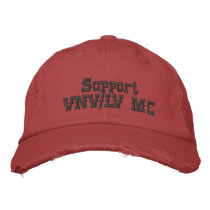 Support VNV/LV MC Faded Red Cap: Dark Gray Letters Embroidered Baseball Hat