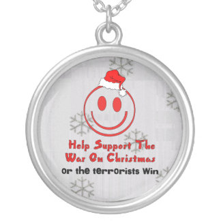 Support War On Christmas Round Pendant Necklace