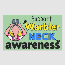 Support Warbler Neck Awareness Rectangle Sticker