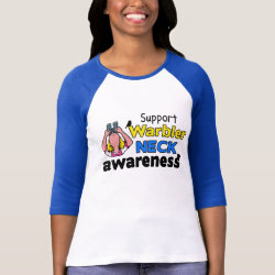 Ladies Raglan Fitted T-Shirt with Support Warbler Neck Awareness design