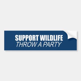 SUPPORT WILDLIFE, THROW A PARTY BUMPER STICKER