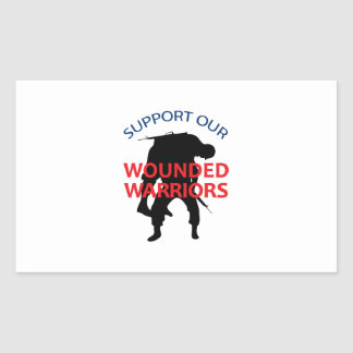 SUPPORT WOUNDED SOLDIERS RECTANGLE STICKER