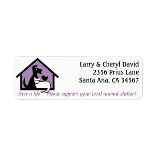 Support your local animal shelter address label. label
