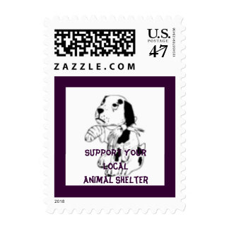 Support Your Local Animal Shelter Hurt Dog Postage