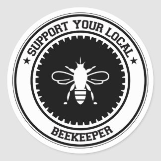 Support Your Local Beekeeper Classic Round Sticker
