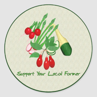 Support Your Local Farmer Classic Round Sticker