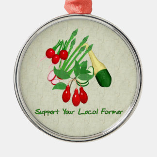 Support Your Local Farmer Round Metal Christmas Ornament