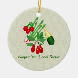Support Your Local Farmer Double-Sided Ceramic Round Christmas Ornament