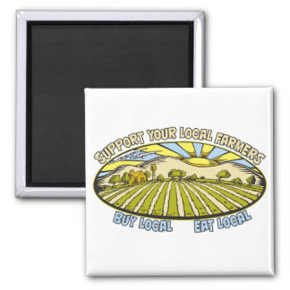 Support Your Local Farmers 2 Inch Square Magnet
