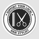 Support Your Local Hair Stylist Classic Round Sticker